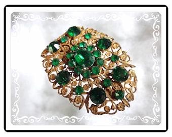 Green Fur Clip - Art Nouveau Lush Green  Rhinestone Dress / Fur Clip   D-Clip-1759a-111814030