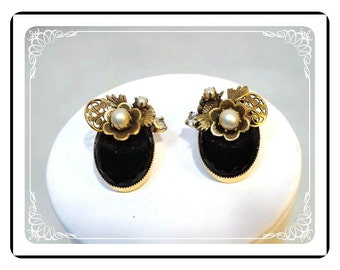 Black Flower ClipOn Earrings with Siimulated Pearls   E-2134a-083013000