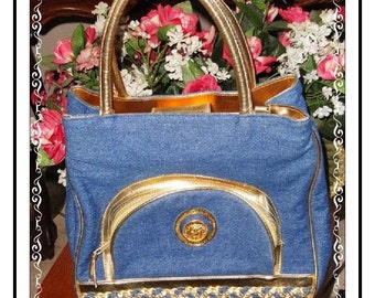 Electric Blue Handbag - Vintage Goldtone Lion Trimmed Button Handbag PR-030a-032014005