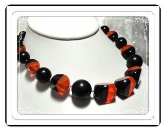 Hobe' Beaded Necklace - Black & Tangerine Beaded Necklace - Tangerine Orange Bakelite by Hobe'   -   Neck-1275a-032313000