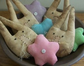 Set Of 8 Primitive Grungy Bunny And Flower Bowl Fillers/Tucks