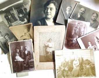 Vintage and Antique Photo Collection Sepia Tone Cabinet Cards and Photography from 1900s and 1910s Scrapbooking Art