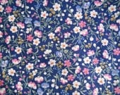 Black/or dark Navy Ground Cotton Fabric Yardage with Blue Rose Gold & Green Florals-Joan Kessler for Concord Fabrics