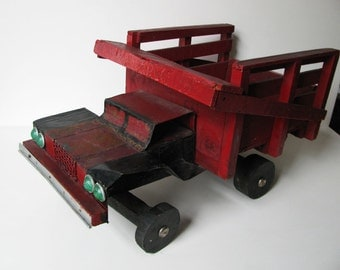 The BIG RED TRUCK, Toy, Super Vintage Hand Made, Hand Painted, Primitive, Wood, Folk Art Truck
