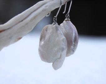Pearl earrings, ear dangles, freshwater pearls super big coins, elegant white gold 14 K