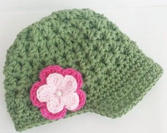 Baby Girl Hat, Crochet Newsboy Hat, Crochet Baby girl Hat Green with Pink Flower, Photo Prop
