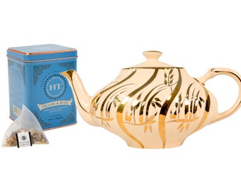 Vintage Arthur Wood Ivory and Gold Teapot with Tea Tin // Teapot Gift Set // Tea Gift Set // English China // English Teapot Earthenware
