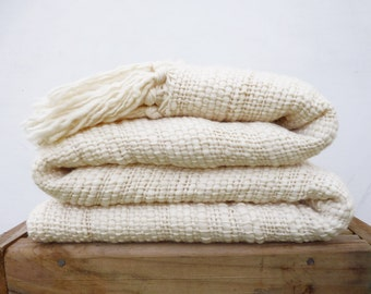 """Rustic Organic blanket, Undyed white wool sheep woven thick thin blanket, Oversized Natural eco home decor 95"""" x 51"""""""
