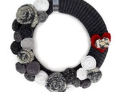 Shades of Gray Wreath Neutral Gray Wreath Knitted Silver and Gray Wreath