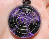 EMF and Psychic Protection 3rd Eye Orgone Crystal Healing Pendant with Vintage Purple Flakes