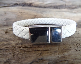 White Braided Leather Bracelet, Men's Jewelry, Crome Magnet Clasp Bracelet, Men's Cuff Bracelet, Valentine's Gifts