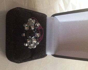 Black Beaded Ring Size 8