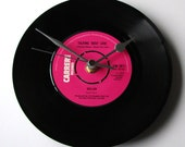 """DOLLAR Vinyl Record CLOCK. """"Talking About Love"""" Recycled Vinyl Record from 1980s single Fun gift for 80s pop music fan pink black eurovision"""