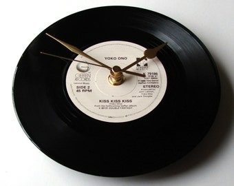 "YOKO ONO, Vinyl Record Wall CLOCK, ""Kiss Kiss"",  A Recycled 7"" Vinyl Record, Engagement, Wedding Anniversary Gift, John Lennon, The Beatles"