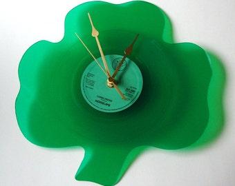 SHAMROCK Shaped CLOCK made from recycled Horslips 7 inch single Loneliness. Irish Rock Music Shamrocks St Patricks Day Fun gift dad granpa