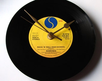 """The RAMONES Vinyl Record CLOCK, choose a song, wall clock made from a recycled 7"""" single, Punk Rock, black and yellow, gift for men husband"""