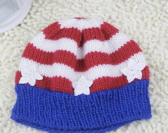 Stars and Stripes Hat-Knitted Hand Made