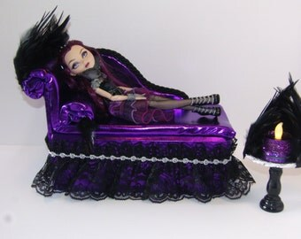 Furniture for Ever After High Dolls Handmade Chaise Lounge Bed for Raven Queen with Mirrored Feather Table and  Working Lamp!