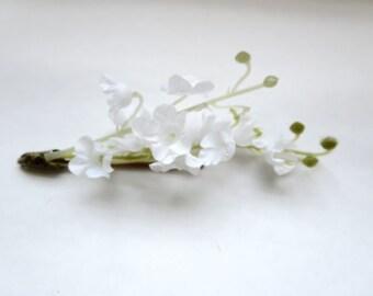 Jasmin Flower bobby pins - lily of the valey  wedding headpiece, flower girl - Fabric  Bohemian Hair Piece
