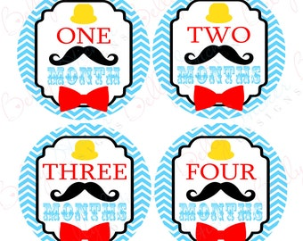 Boy Monthly Baby Stickers, 1 to 12 Months, Monthly Bodysuit Stickers, Baby Age Stickers, Little Mustache