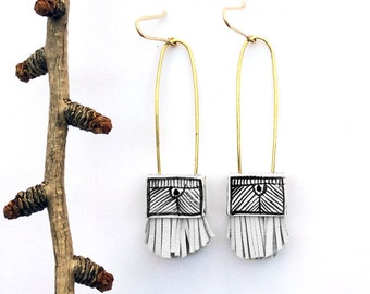 Long Ceramic & Leather Earrings with 14K Gold Fill Ear Wires