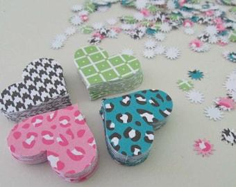 paper hearts stars romantic wedding birthday party valentines confetti die cut multi color  240+ pieces