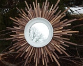 "27"" Handmade Walnut Reclaimed Wood Starburst Mirror MADE to ORDER, Wooden Wall Art"