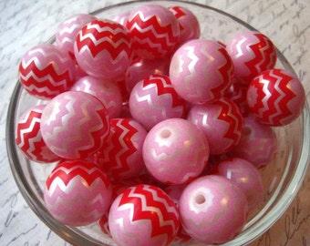Chevron Stripe Bead, 20mm Pink and Red Bubblegum Bead, 10 pcs, Gumball Bead, Zig Zag Beads, Plastic Bead, Chunky Necklace Bead