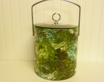 1960s Ice Bucket, Hard Plastic w/ Vinyl Covering, Wine Bubbly Champagne Server - Vintage Travel Trailer Decor