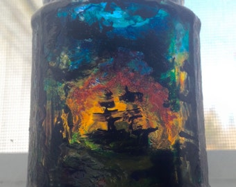 painted glass jar/candleholder.