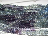 Paraiba and Fluorite Faceted Rondelle High Quality Beads 4mm - 4.5mm