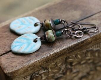 Rustic Ceramic Leaf Primitive Autumnal earrings n44- artisan blue ceramic leaves . solid copper metal . autumn jewelry . boho . tribal