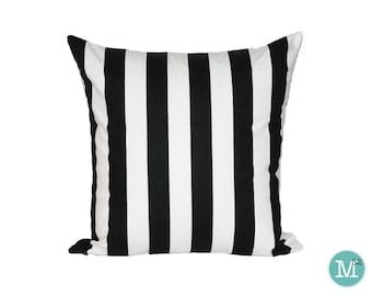 Black & White Stripe Pillow Cover Sham - 20 x 20 and More Sizes - Zipper Closure