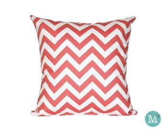 Coral Chevron Pillow Cover - 20 x 20 and More Sizes - Zipper Closure