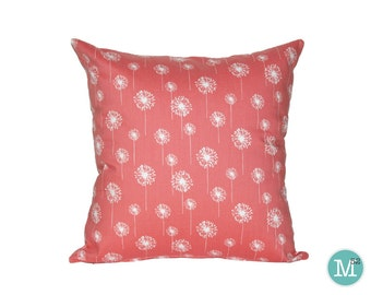 Coral Dandelion Pillow Cover - 20 x 20 and More Sizes - Zipper Closure