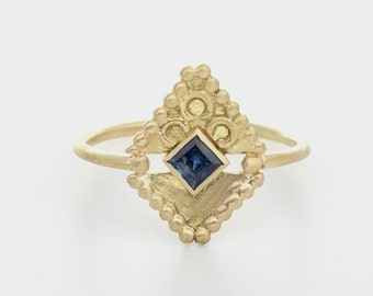 14k gold and Sapphire , Vintage style gold ring. Woman gold ring. Woman engagement ring. 14k gold and Gemstone ring. unique. Handmade.