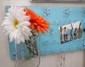 SALE Mason Jar Jewelry Organizer or Kitchen Board Hot Pad Dish Towel Holder, Recipe Cards, Light Blue - IN STOCK