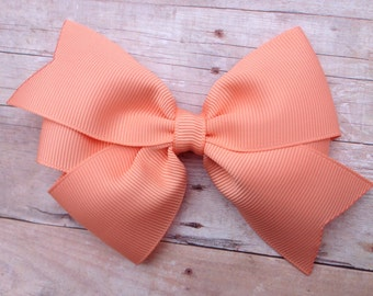 4 inch peach hair bow - peach bow, light orange bow, girls hair bows, girls bows, toddler bows, pinwheel bows, classic hair bows, girls