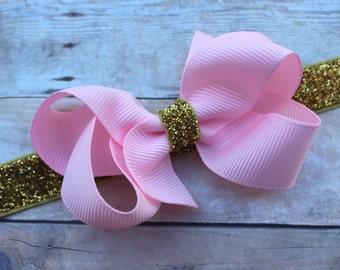 Light pink & gold baby headband - pink baby headband, gold baby headband, baby headband, baby bow headband, newborn headband