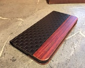 IPHONE 6 PLUS case black  checkered leather ,real exotic rosewood
