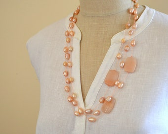 Blush peach baroque pearl necklace Layered hand knotted necklace Big bold pink aventurine bead necklace Multi strand necklace