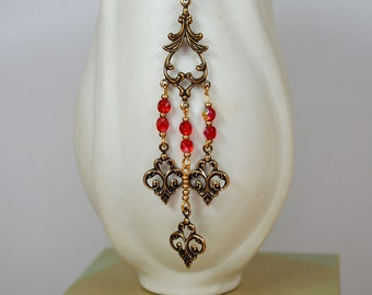Bohemian chandelier earrings Antique filigree long chandelier earrings Red bead shoulder duster earrings Long earrings Renaissance jewelry