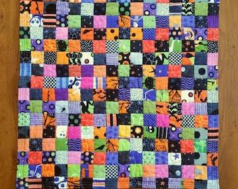 No. 39, Miniature Bright Halloween Postage Stamp Quilt,  256 Pieces