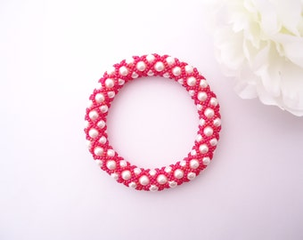 Netted Pearls Bangle - Pink and White