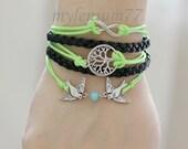 550 Women's black leather bracelet Infinity bracelet Tree bracelet Birds bracelet Charm bracelet Friendship bracelet For women and girls