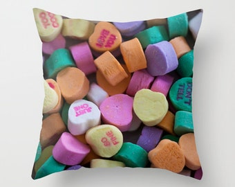 Conversation Hearts pillow cover - fine art photography, Valentine's Day Candy, pastel, home decor, novelty cushion