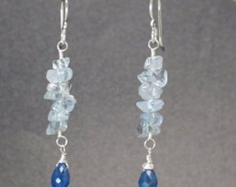 Aquamarine, Blue Apatite cluster earrings Modglam 196