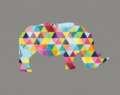 Rhino Print Poster Africa Animal Design Geometric Bright Colorful Colourful Grey Gray Wall Art Home Decor Gift Present Birthday African