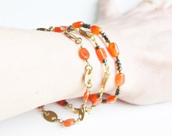 Orange and Bronze Gemstones and Brass Bracelets with Carnelian and Pyrite Beads Layering Bracelets