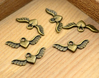 High Quality--20pcs 28x11mm Antiqued Vintage Bronze Heart Charm Pendant,Holiday Charm, Pendant